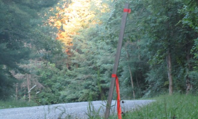 A marker indicates the location of where the proposed Marc 1 Hub pipeline will be built in Lycoming County, PA.