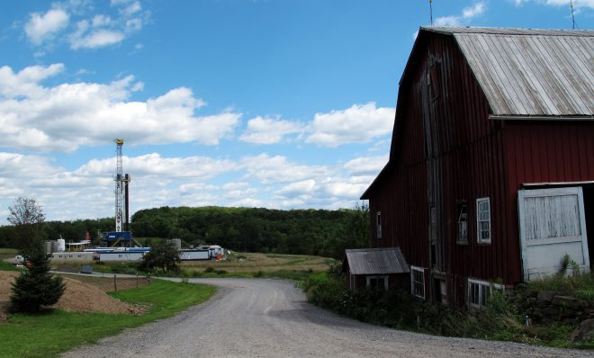 A well pad on a Tioga County farm. Although gas drilling is allowed in most of the state, there is a moratorium against drilling in the eastern part where the Delaware River Basin Commission has jurisdiction.