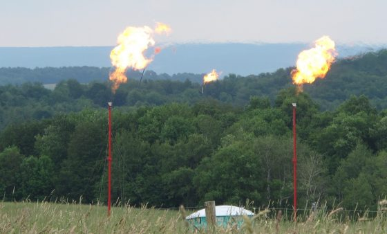 FILE PHOTO: Shell flared off natural gas for three months in 2012, to alleviate subsurface pressure in Union Township, Tioga County, where one of its drilling sites got too close to an abandoned well