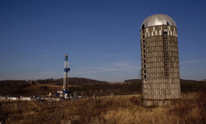 A natural gas well in a rural field near Canton in Bradford County.