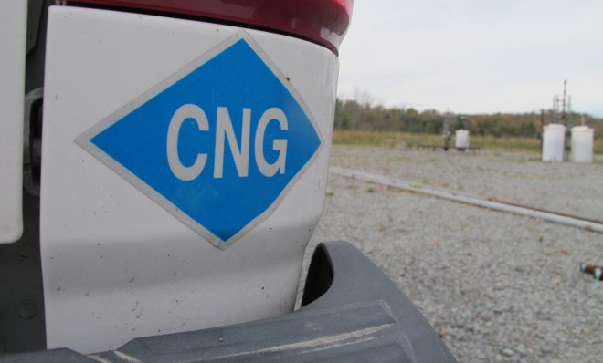 A pickup truck that runs on compressed natural gas (CNG).