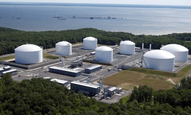 This 2010 file photo shows Dominion Resources Cove Point terminal in Maryland. It is has been converted from a gas import facility to an export terminal to ship Marcellus Shale gas to Japan and India.