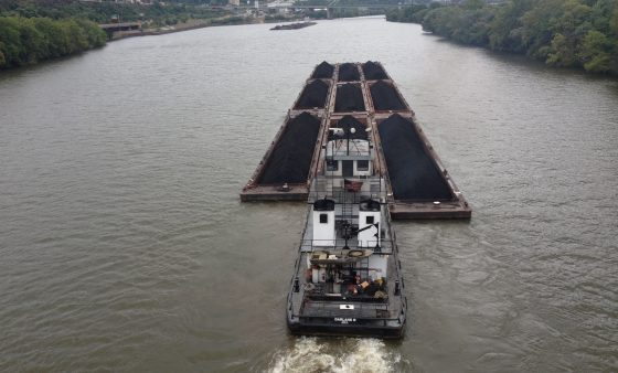A coal barge along the Monongahela River in Pittsburgh.