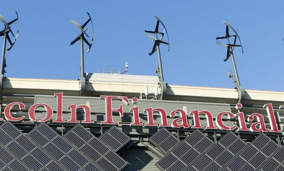 Micro-wind turbines and solar panels installed at Lincoln Financial Field in Philadelphia generate renewable energy. The state's Climate Action Plan recommends rooftop solar and more energy efficient buildings.