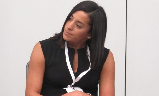 FILE PHOTO: Gov. Tom Wolf aide, Yesenia Bane, speaking on a panel discussion at the Marcellus Shale Coalition's annual conference in Pittsburgh in September 2016.