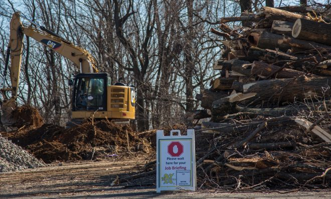 Tree-clearing in Delaware County to prepare for the construction of the Mariner East 2 pipeline project. The builder, Sunoco Logistics, rejected an attempt by a township in neighboring Chester County to block the installation of a valve along the line.