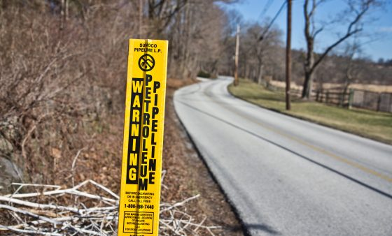 A sign marks the path of the Mariner East 1 pipeline through Chester County.