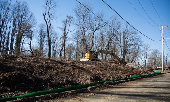 Construction equipment clears trees in Aston, Delaware County to make way for the Mariner East 2 natural gas liquids pipeline.