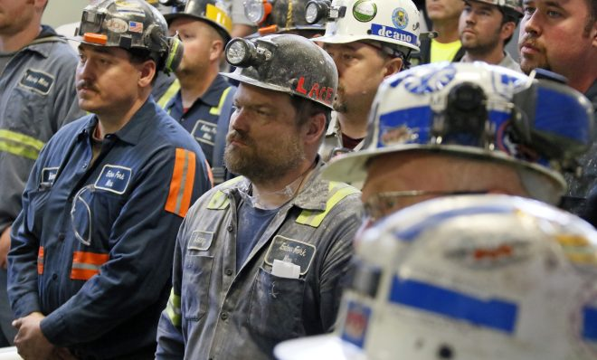 A group of coal miners listen to former U.S. Environmental Protection Agency Administrator Scott Pruitt during his visit to Consol Pennsylvania Coal Company's Harvey Mine in Sycamore, Pa., Thursday, April 13, 2017.