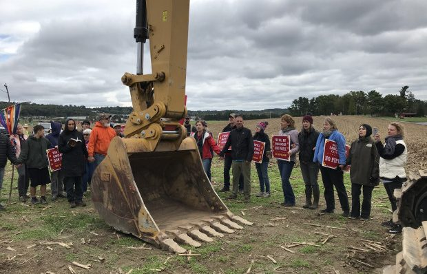 Protesters blocked pipeline construction equipment on the property of The Adorers of the Blood of Christ, an order of Catholic nuns, in Lancaster County in October. On Friday, the nuns asked an appeals court to allow them to make their religious objections to the pipeline in a lower court.
