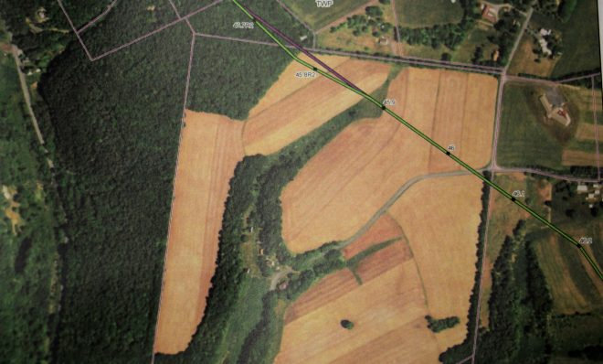 This February 2018 photo shows the most recent proposed route for the PennEast pipeline through Albertine Anthony's farm in Palmerton, Pennsylvania. The route cuts through a triangle of unfarmed wetland that is the source of Anthony's home water supply.