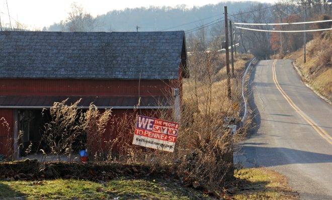 A sign on Riegelsville Road in Holland Township, New Jersey, shows local opposition to the PennEast pipeline.