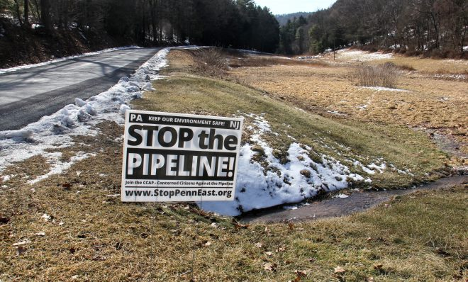 A sign on Stagecoach Road in Palmerton, Pennsylvania, shows local opposition to the PennEast pipeline.