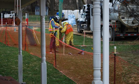 Workers and contractors for Sunoco Pipeline begin an 'additional investigation' of geological conditions behind homes at Lisa Drive, West Whiteland Township, Chester County where the company has been drilling for construction of the Mariner East 2 and 2X pipelines.