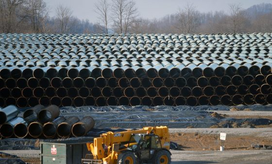 Along U.S. Route 19 in southern West Virginia, row after row of pipe is stockpiled in preparation for construction of the 300-mile Mountain Valley Pipeline, one of several major natural gas pipelines that will crisscross the state as the industry booms.