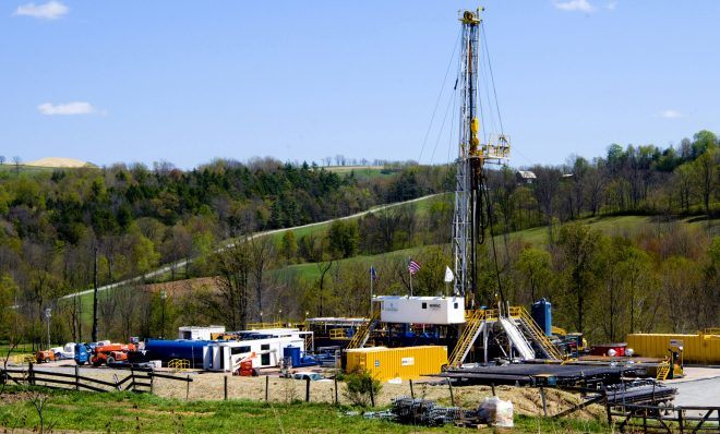 "In this April 23, 2010 photo, a Chesapeake Energy natural gas well site is seen near Burlington, Pa., in Bradford County. So vast is the wealth of natural gas locked into dense rock deep beneath Pennsylvania, New York, West Virginia and Ohio that some geologists estimate it's enough to supply the entire East Coast for 50 years. But freeing it requires a powerful drilling process called hydraulic fracturing or ""fracking,""using millions of gallons of water brewed with toxic chemicals that some fear threaten to pollute water above and below ground, deplete aquifers and perhaps endanger human health and the environment."