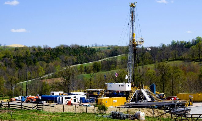 In this April 23, 2010 photo, a Chesapeake Energy natural gas well site is seen near Burlington, Pa., in Bradford County.