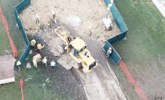 Crews work to stabilize sinkholes in a West Whiteland Township neighborhood on March 3. The sinkholes appeared  near a construction site for the Mariner East 2 pipeline.