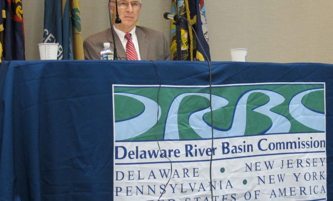In this 2018 photo, the Delaware River Basin Commission, a federal/interstate agency responsible for managing water resources in the Delaware River watershed, held a hearing in Philadelphia on the proposed ban on fracking in the Delaware River basin.