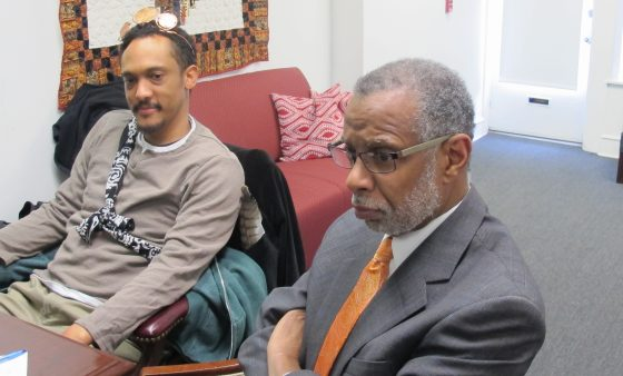 State Sen. Art Haywood, D-Philadelphia, listens to his constituents lobby him about renewable energy proposals.