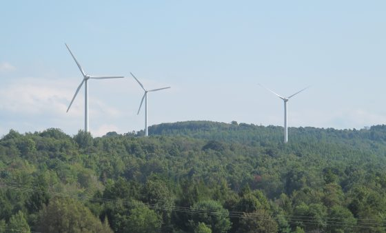 Wind turbines along the Pennsylvania Turnpike.