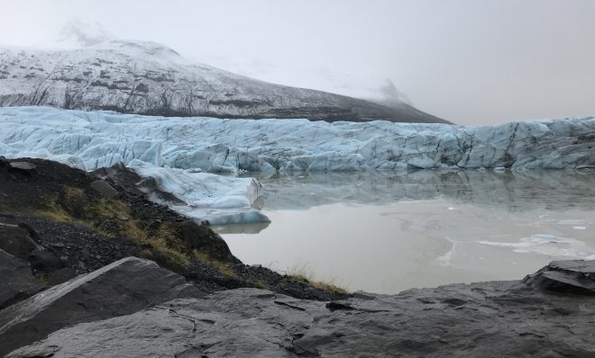 The Svínafellsjökull glacier in Iceland. Glacial retreat is among the most visible impacts of climate change. Since the early 20th century, with few exceptions, glaciers around the world have been retreating at unprecedented rates.