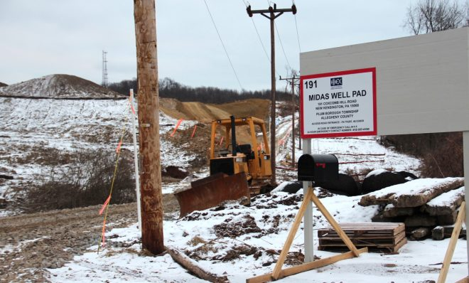 Huntley & Huntley Energy Exploration's Midas Well pad, the first Marcellus shale gas well in the Pittsburgh suburb of Plum.