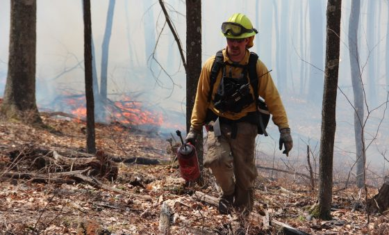 Gage Meyer, a game commission officer, at a controlled burn in Centre County.