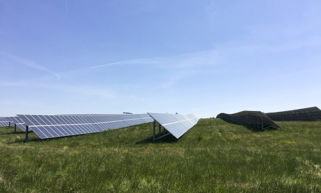 Solar panels in Hanover generate electricity for the Snyder's-Lance snack company.