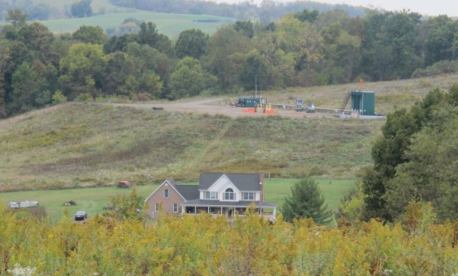 The Latkanich residence in Washington County with permanent well pad and natural gas infrastructure.