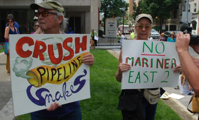 About 150 people showed up at a rally in West Chester on Jun 9 to urge the state's Public Utility Commission to shut down Sunoco's Mariner East pipeline project.