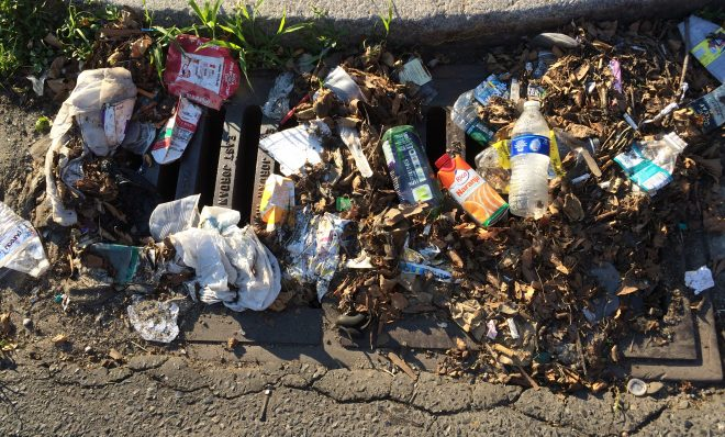 Stormwater drains in Philadelphia have traps to capture trash, but smaller pieces of plastic can get through all the way to the river.