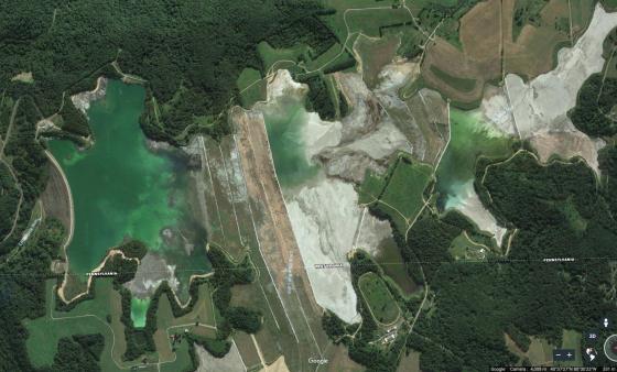 Little Blue Run coal ash pond, on the Pennsylvania-West Virginia border.