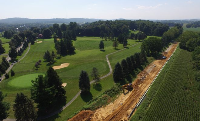 An aerial view of Mariner East 2 pipeline construction, adjacent to the Fairview Golf Course in Lebanon County August 24, 2018.