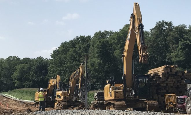 Workers installing the Mariner East 2 pipeline August 22, 2018 in Lebanon County. Energy Transfer Partners, parent company of Sunoco Logistics, had told investors that the line would be operational by the end of September. But regulatory issues have held it up.