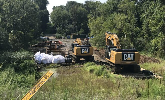 Energy Transfer, the parent company of Mariner East 2 pipeline builder, Sunoco, works at Snitz Creek in West Cornwall Township, Lebanon County after a drilling mud spill during the summer.