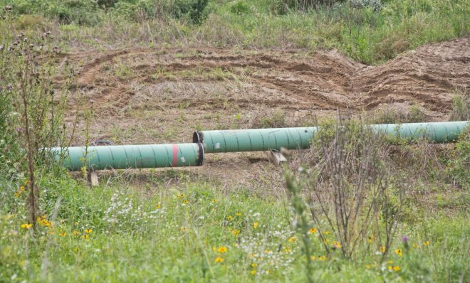 A Mariner East 2 pipeline construction  site is shown off Valley Road near Media, Pa., on Aug. 22. The site is close to where Sunoco is digging up a section of the pipeline after discovering a coating issue that needed to be fixed.