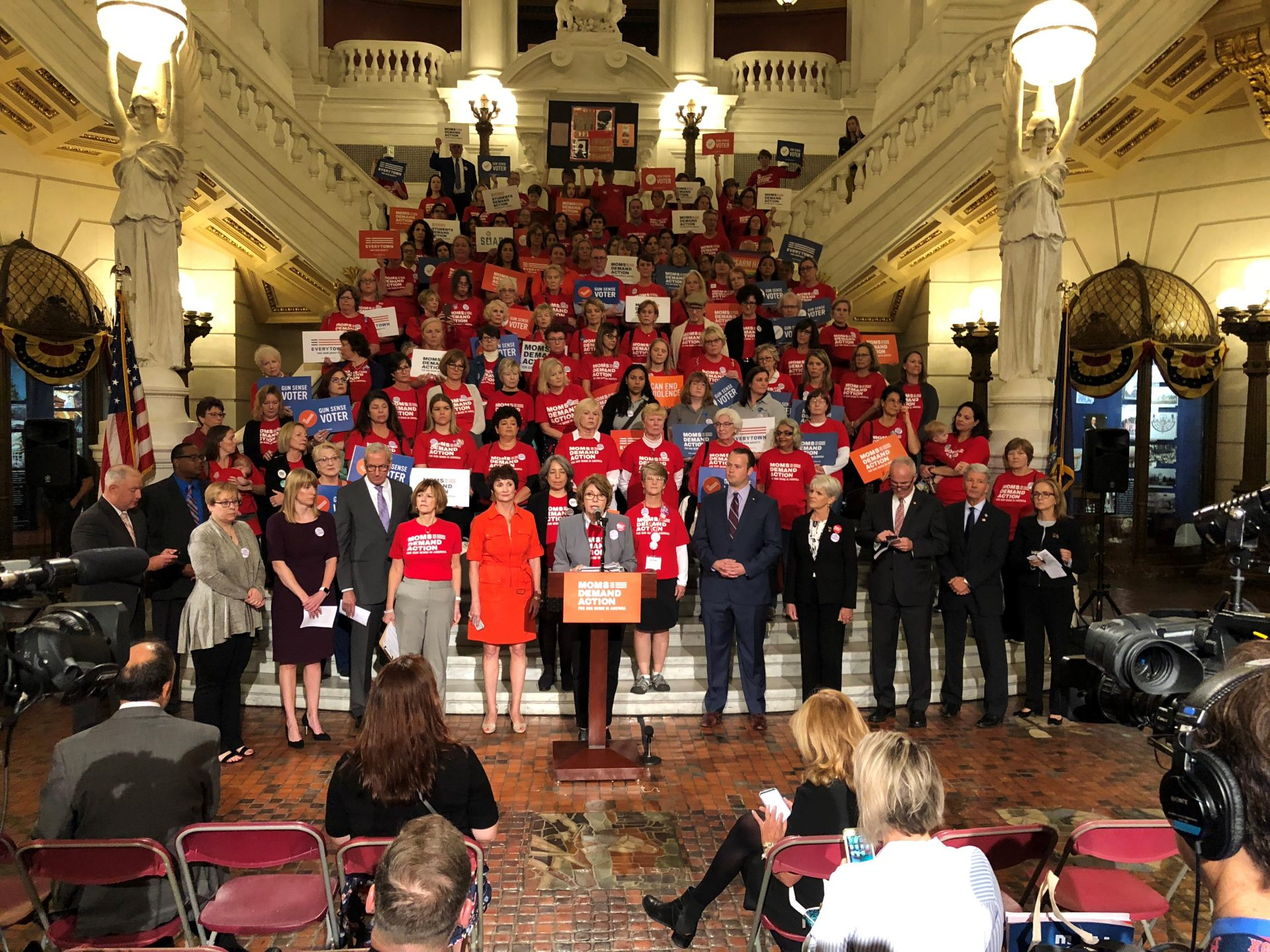 Supporters of legislation to increase gun restrictions in protection-from-abuse and domestic violence cases rally at the state Capitol in Harrisburg on Sept. 24, 2018.