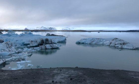 The Jökulsárlón glacial lagoon in southeastern Iceland.