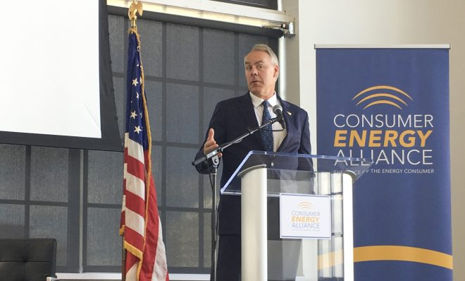 Interior Secretary Ryan Zinke speaks Friday at a conference hosted by the Consumer Energy Alliance in Pittsburgh.