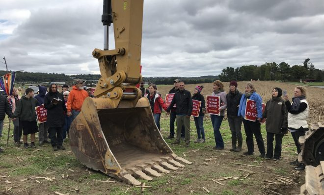 Protesters blocked pipeline construction equipment on the property of The Adorers of the Blood of Christ, an order of Catholic nuns, in Lancaster County last year.