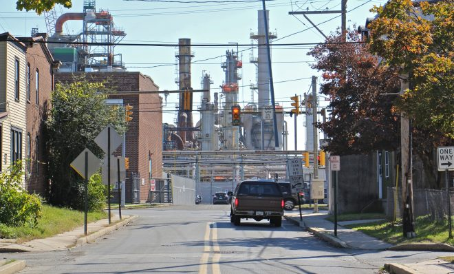 Main Street in Marcus Hook dead ends at the Monroe Energy refinery.
