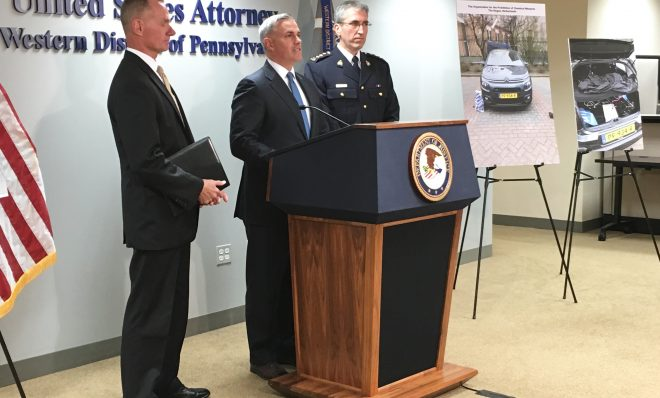 Scott Brady, U.S. attorney for the Western District of Pennsylvania, speaks Friday at a press conference about an indictment against Russian military officials accused of trying to hack into the computer systems of a nuclear power company near Pittsburgh, as well as anti-doping agencies around the globe.