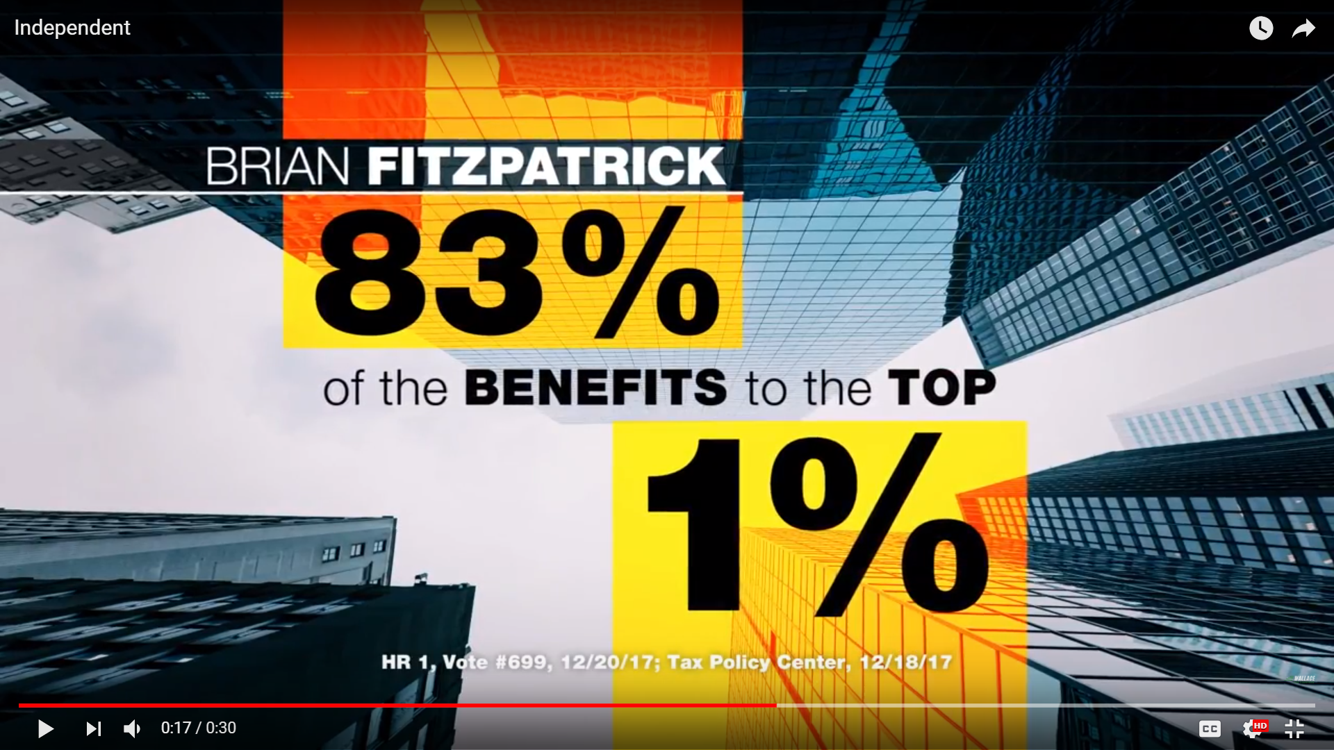 In this campaign ad from Democrat Scott Wallace's campaign, Republican Brian Fitzpatrick is criticized over a tax bill.