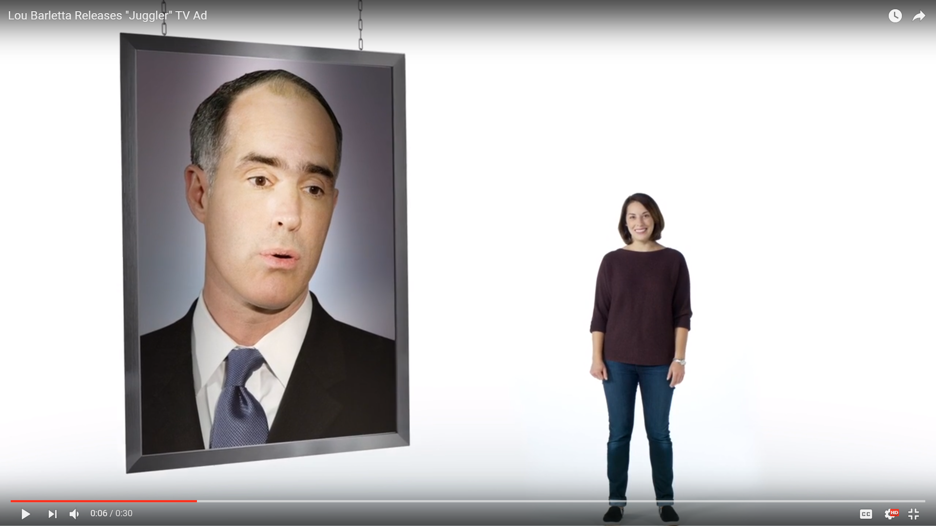 In this ad from the campaign of Republican Lou Barletta, U.S. Sen. Bob Casey is seen.