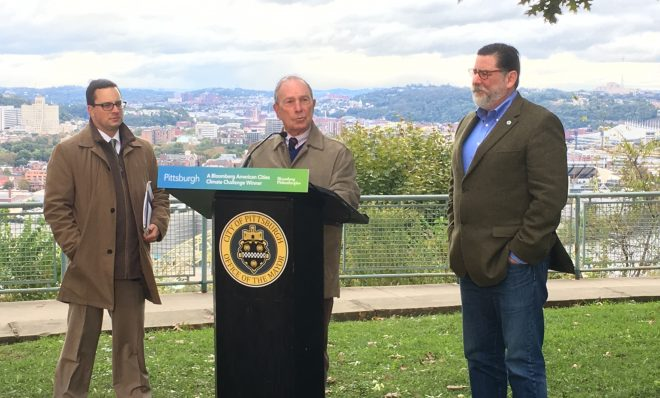 Former New York City Mayor Michael Bloomberg (center) appeared with Pittsburgh's Chief Resilience Officer Grant Ervin (left) and Pittsburgh Mayor Bill Peduto at West End-Elliott Overlook Park on Sunday.