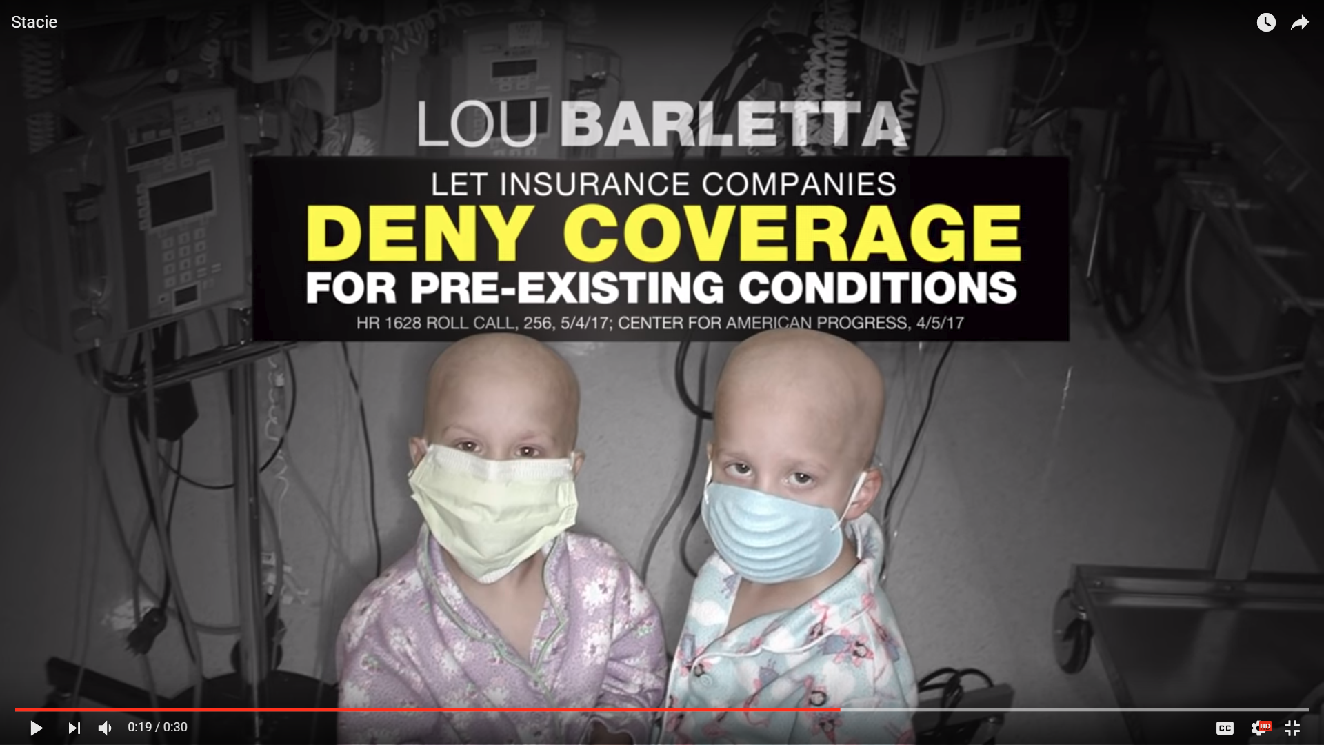 "In this ad from the campaign of U.S. Sen. Bob Casey, ""Deny Coverage"" is seen in bright yellow letters."