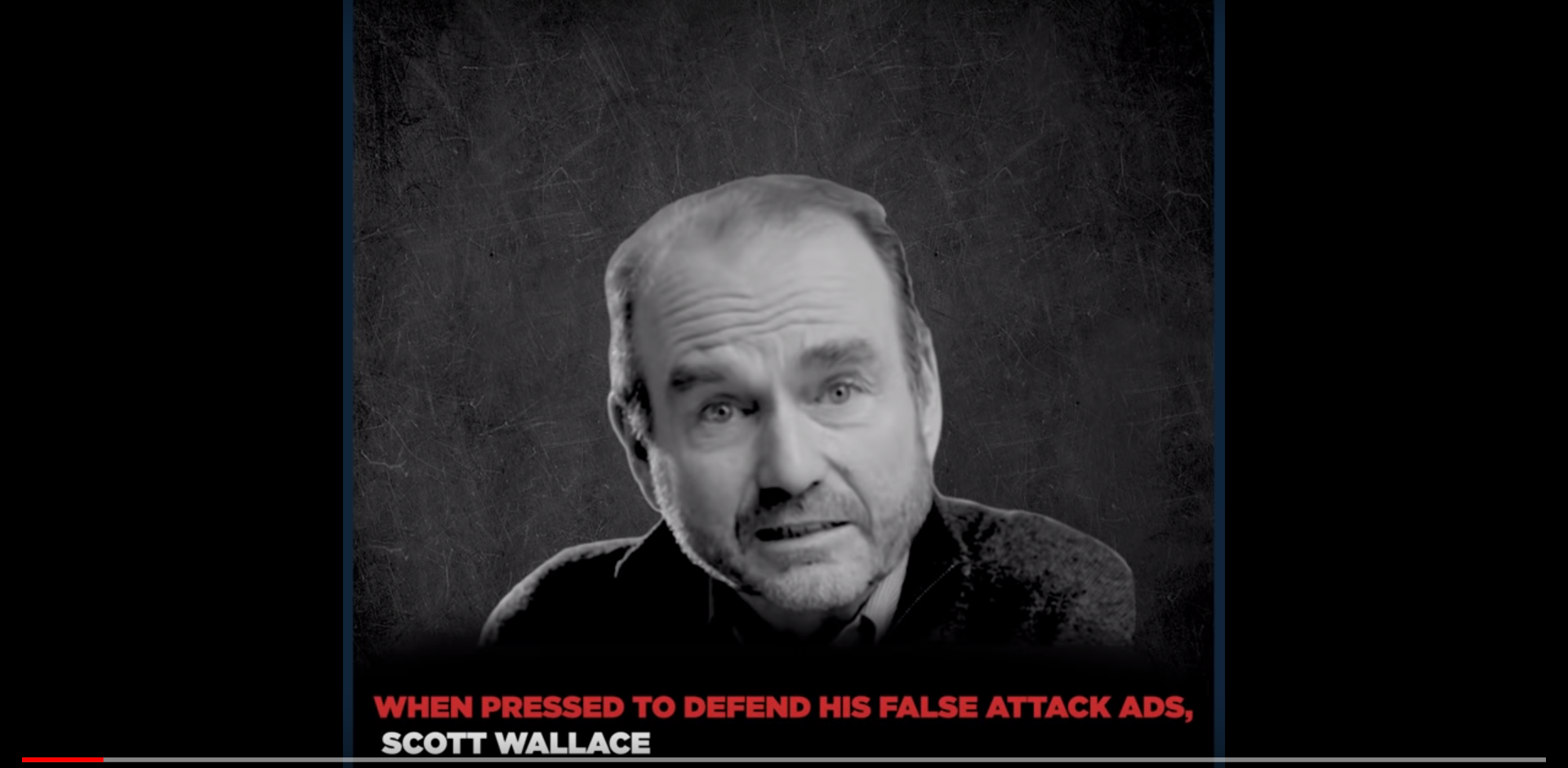 In this ad from the campaign of Republican Congressman Brian Fitzpatrick, Democratic challenger Scott Wallace is seen in a black and white photo.