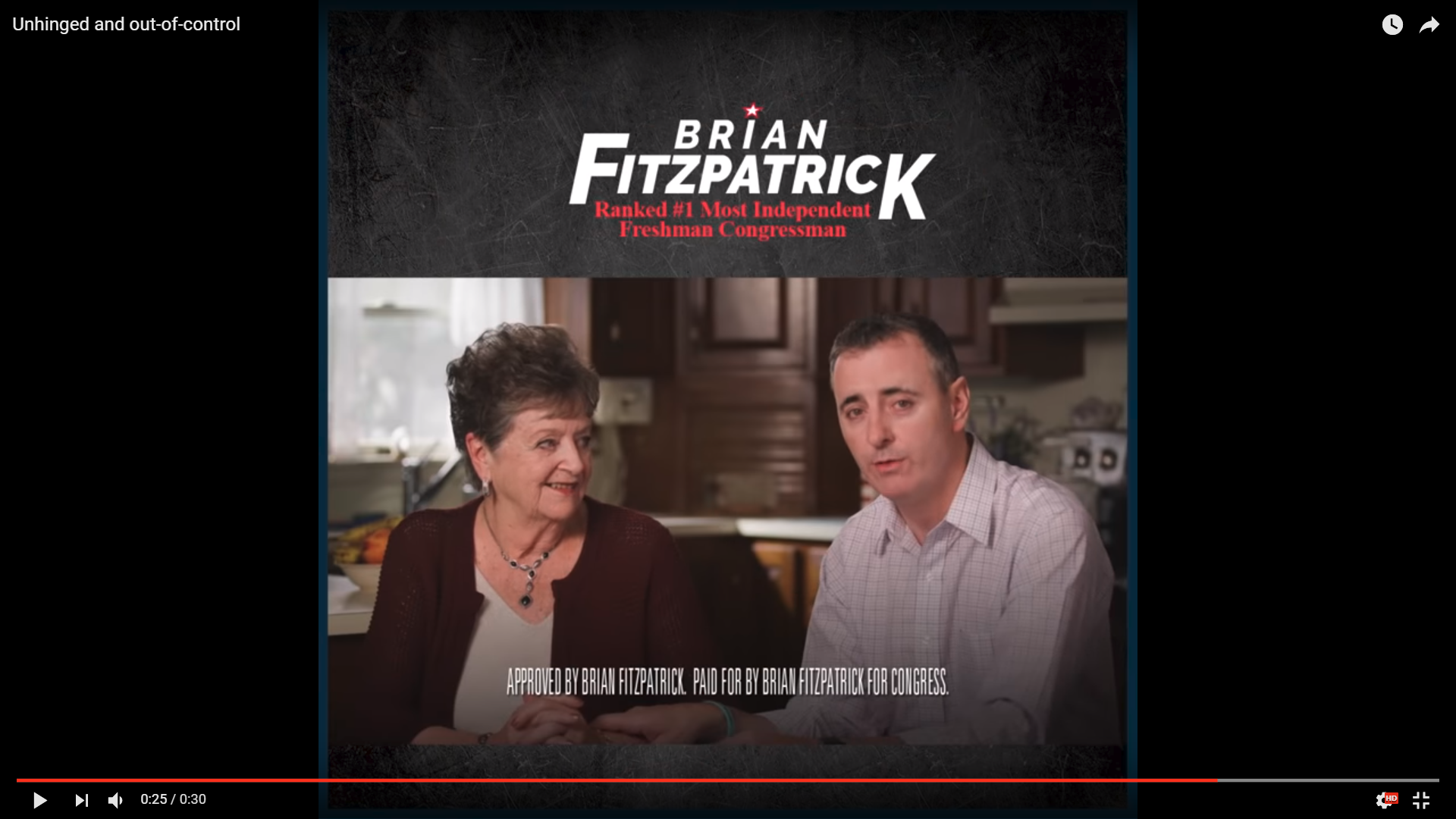 In this campaign ad, Republican Brian Fitzpatrick appears with his mother.