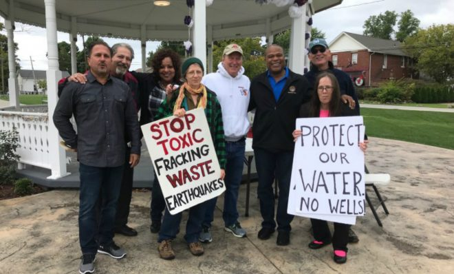State representative Glenn Holmes (3rd from right) has introduced two bills in the Ohio House of Representatives meant to rein in injection wells.